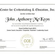 Tony McKeon Board Certified Career Coach Credential